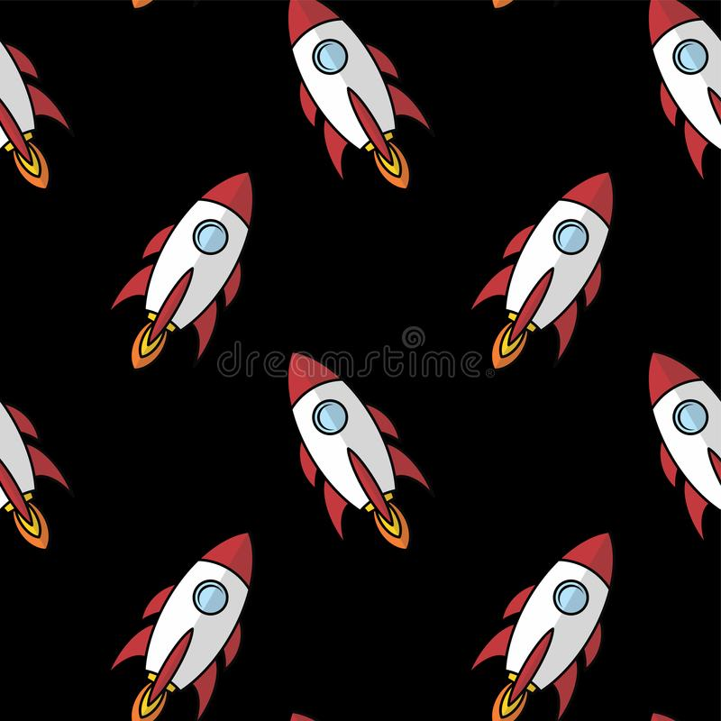 Space ship rocket shuttle cartoon art. Illustration royalty free illustration