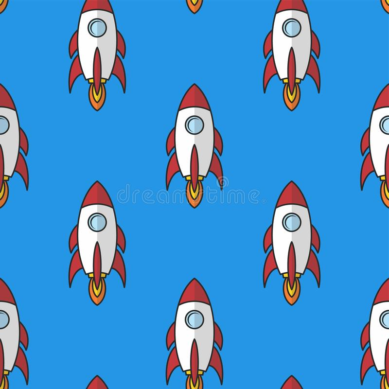Space ship rocket shuttle cartoon art. Illustration stock illustration