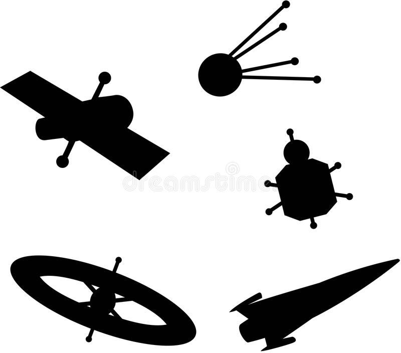 Space Ship Silhouettes stock illustration