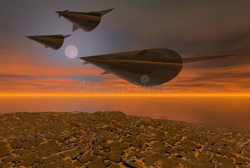 Space Ships Hot Night Flight vector illustration
