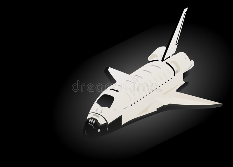 Space Shuttle. 3d View in Black Space stock illustration