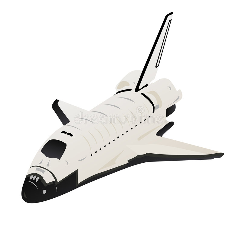 Space Shuttle. 3d View over White stock illustration
