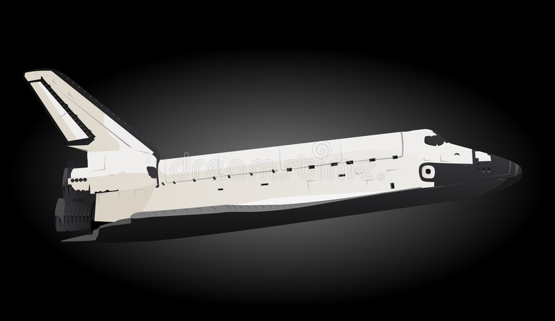 Space Shuttle. Profile View in Black Space vector illustration