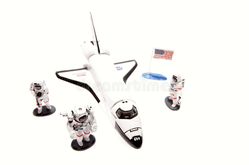 Space shuttle and astronauts royalty free stock image