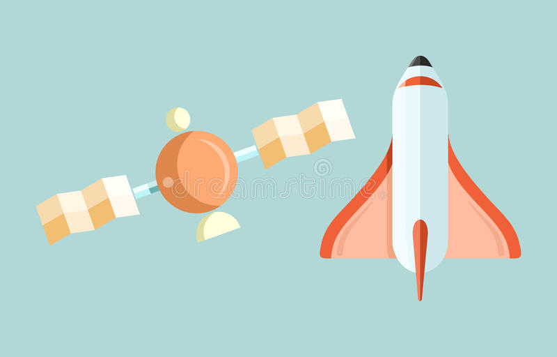 Space Shuttle and Astronomy Web Page. Spaceship and space shuttle launch, astronaut and rocket, space station, astrology and star, telescope and galaxy royalty free illustration