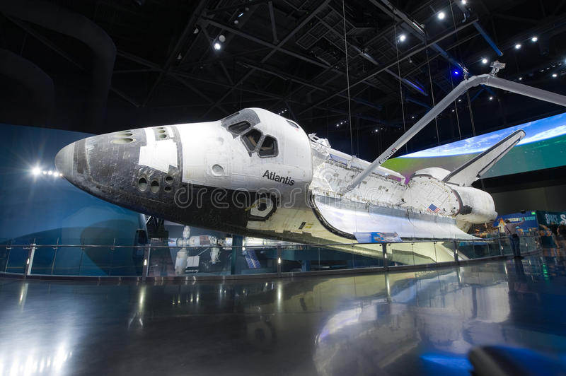 Space Shuttle Atlantis. KENNEDY SPACE CENTER, FLORIDA, USA - APRIL 27, 2016: Space Shuttle Atlantis which is exhibited at the visitor complex of Kennedy Space royalty free stock image