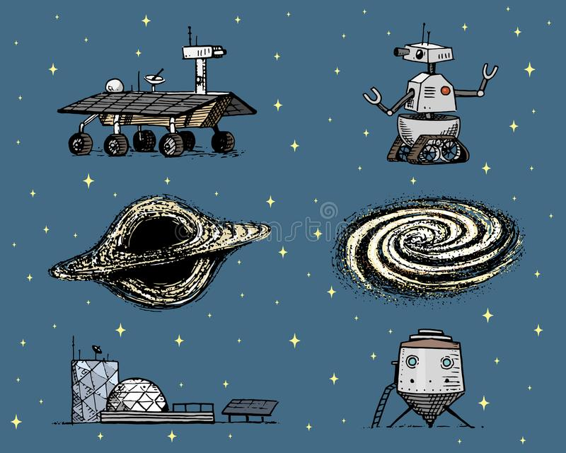 Space shuttle, black hole and galaxy, robot and mars, lunar rover, moonwalker and colony, astronaut exploration royalty free illustration