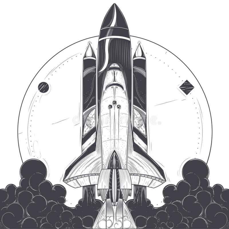 Space shuttle with carrier rockets launch vector stock illustration
