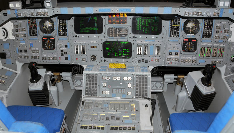 Space Shuttle cockpit. Cockpit view of the Space Shuttle royalty free stock photos