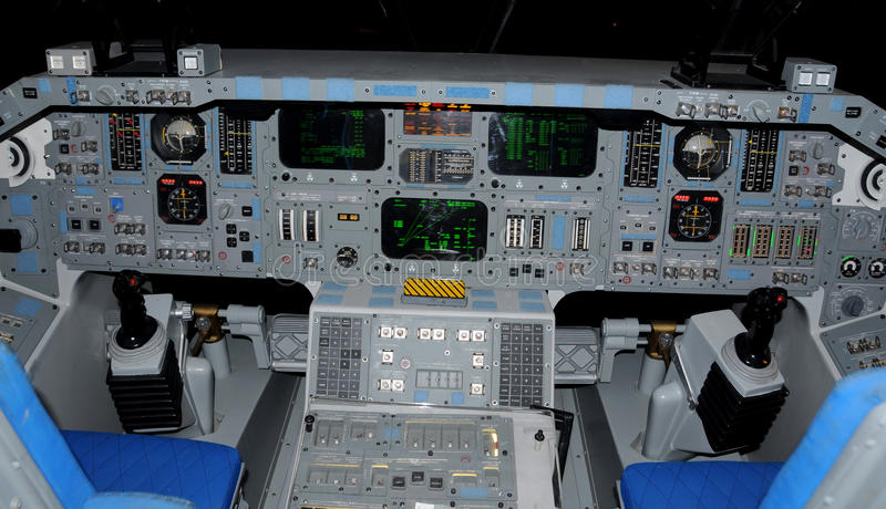 Space shuttle cockpit. And instrument panel stock photography