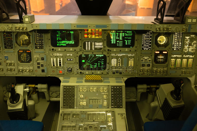 Space shuttle cockpit. Houston USA - April 2015: inside the cockpit of the original space shuttle at Houston Space Center royalty free stock photo