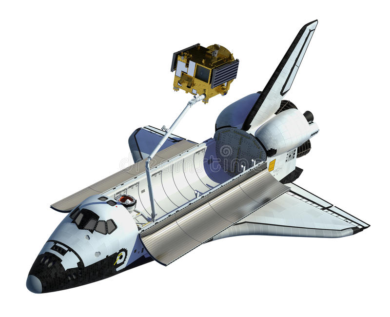 Space Shuttle Deploying Satellite On White Background. 3D Scene royalty free illustration