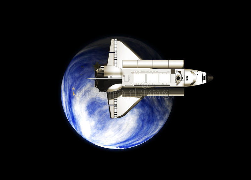 Space shuttle and earth vector illustration