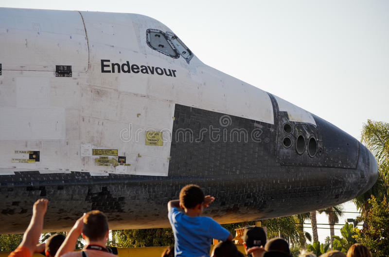 Space Shuttle Endeavour on streets of Los Angeles stock images