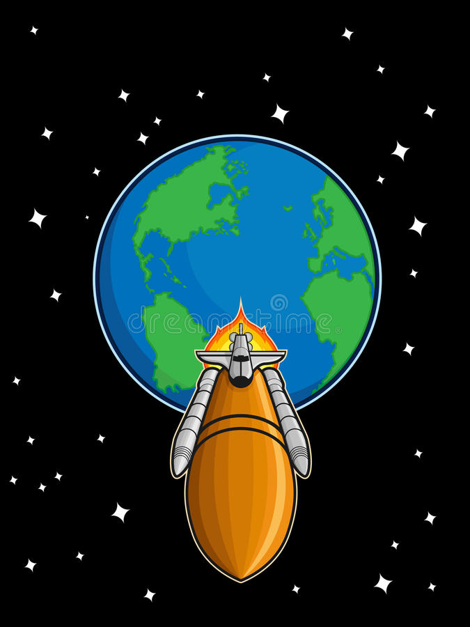 Space Shuttle Fly from Earth royalty free illustration