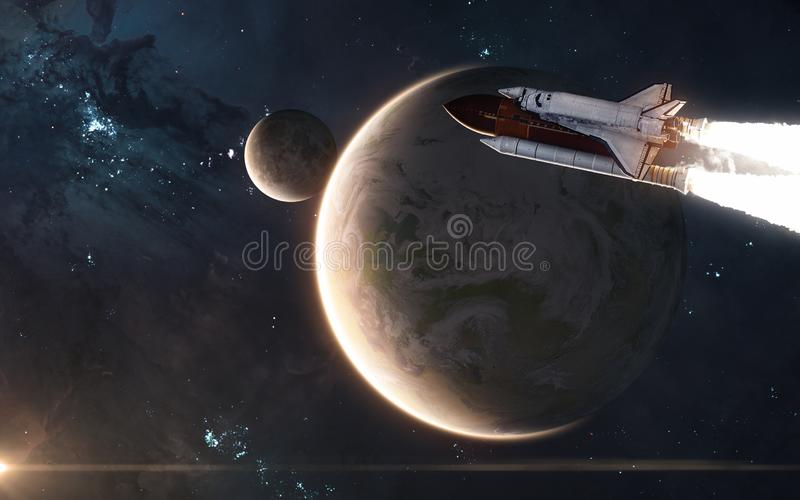 Space shuttle is flying in front of Earth and Moon. Solar system. Science fiction royalty free stock image