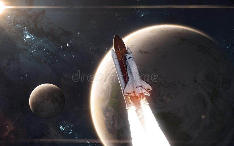 Space shuttle is flying in front of Earth and Moon. Solar system. Science fiction royalty free stock photo