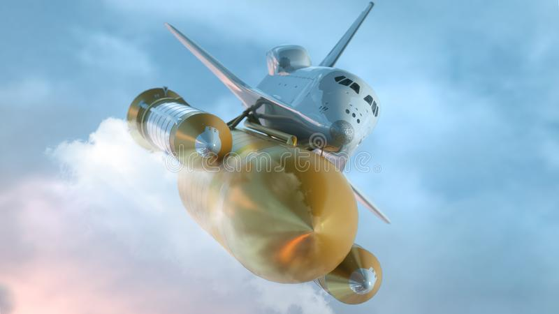 Space Shuttle Flying Over The Clouds. 3d illustration.  stock illustration