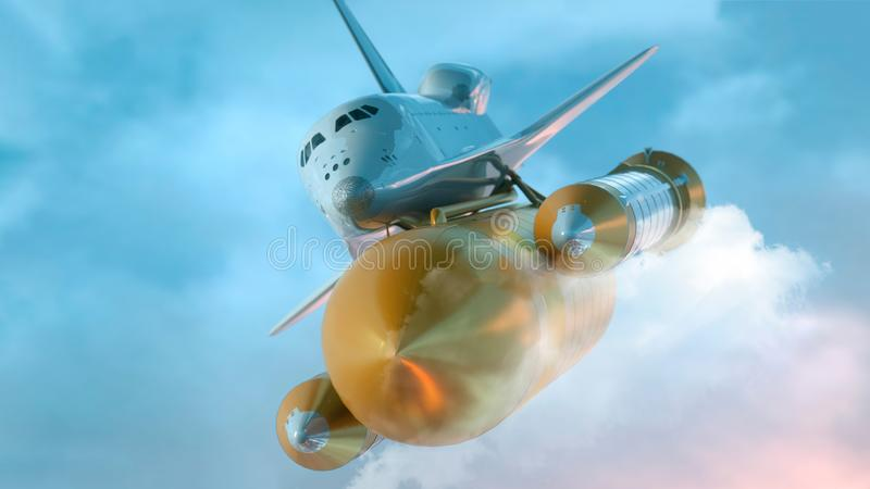 Space Shuttle Flying Over The Clouds. 3d illustration.  royalty free illustration