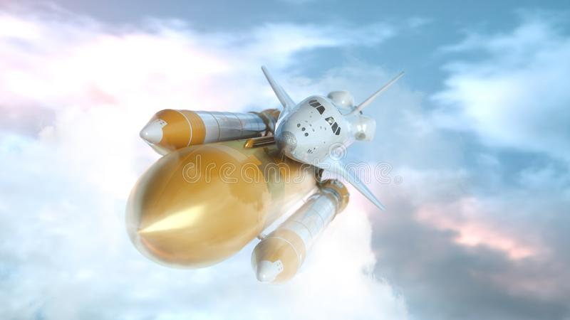 Space Shuttle Flying Over The Clouds. 3d rendering.  royalty free illustration