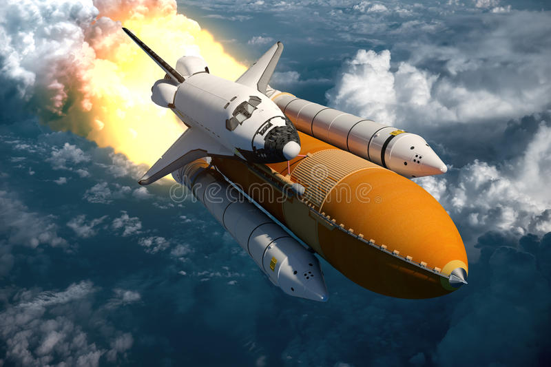 Space Shuttle Flying Over The Clouds royalty free illustration