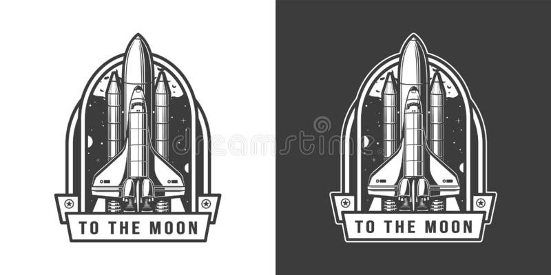 Space shuttle flying to moon emblem vector illustration