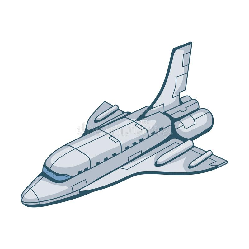 Space shuttle. Hand drawn spaceship. Space travel through the Galaxy. Vector graphics to design royalty free illustration