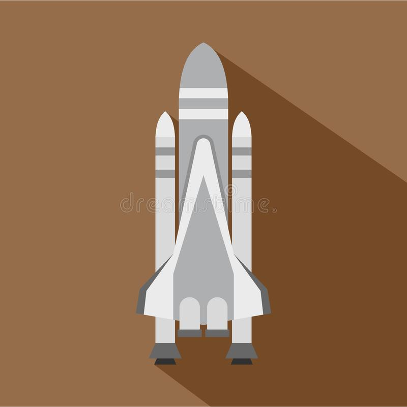 Space shuttle icon, flat style stock illustration