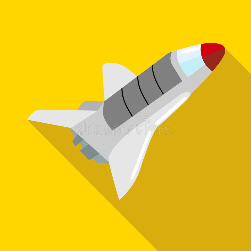Space shuttle icon in flat style. On a yellow background stock illustration
