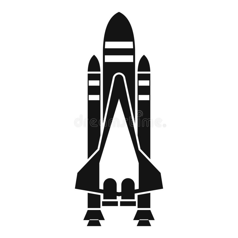 Space shuttle icon, simple style royalty free illustration
