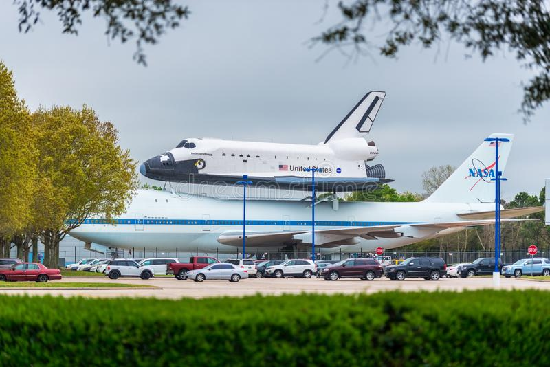 Space Shuttle Independence and Shuttle Carrier Aircraft at Johnson Space Center in Houston USA. Space Shuttle Independence sits atop the Shuttle Carrier Aircraft royalty free stock photo