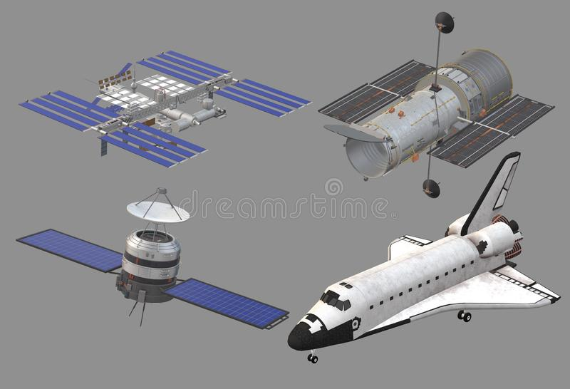 A space shuttle, international space station, satellite and hubble space telescope vector illustration