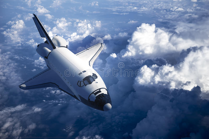 Space Shuttle Landing In The Clouds. 3D Scene vector illustration