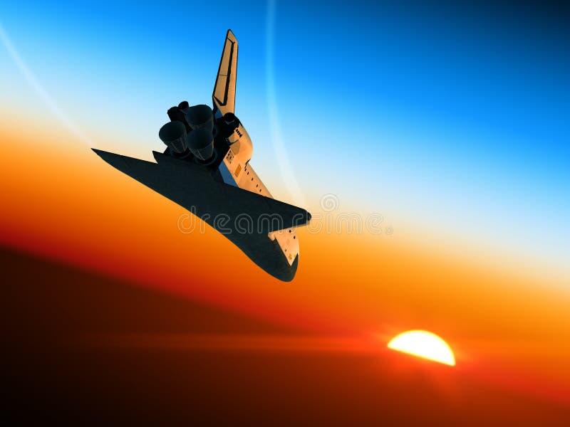 Space Shuttle Landing. 3D Scene stock illustration