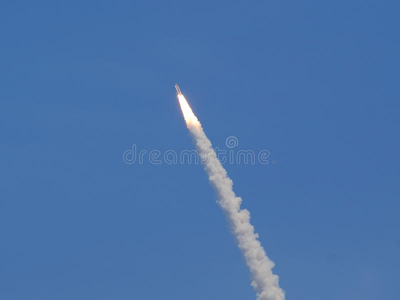 Space Shuttle Launch. View of a space shuttle in flight after launch stock images