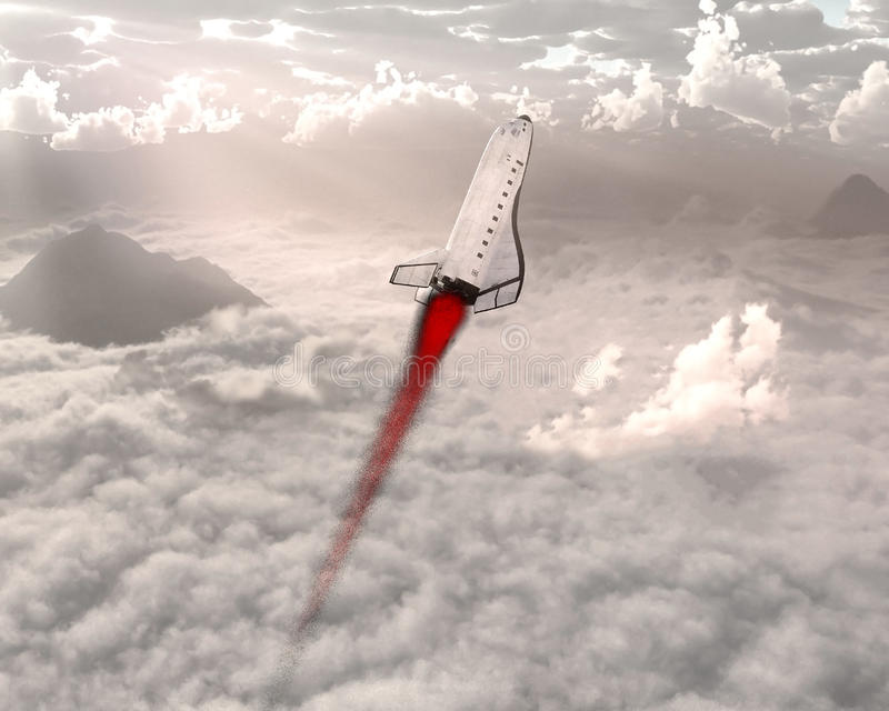 Space Shuttle Launch, Clouds, Sky. Illustration of the space shuttle blasting off into the sky and outer space. The spacecraft is flying through the clouds and stock photos
