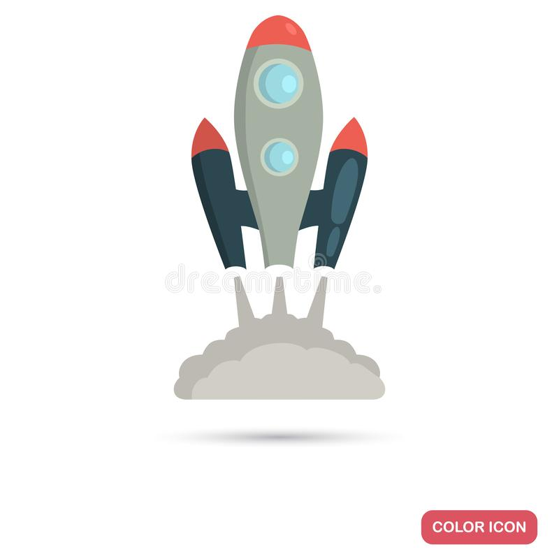 Space Shuttle Launch color flat icon for web and mobile design royalty free illustration