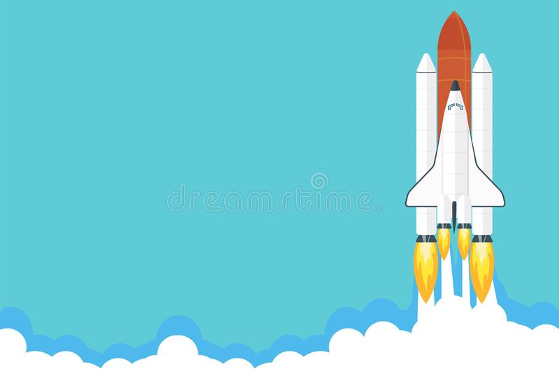 Space shuttle launch illustration. Business or project startup banner concept. Flat style vector illustration royalty free illustration