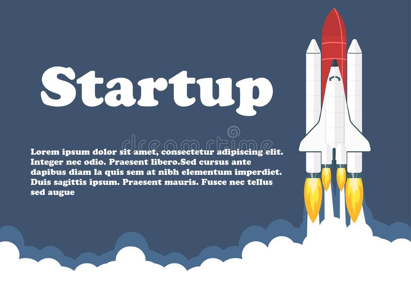 Space shuttle launch illustration. Business or project startup banner concept. Flat style vector illustration stock illustration