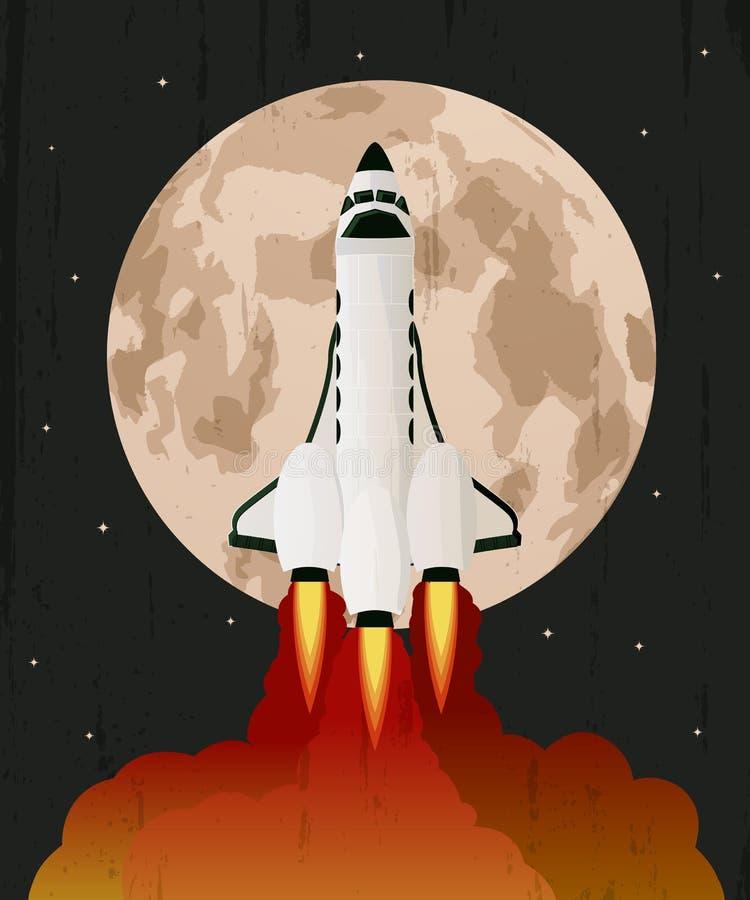 Space shuttle launch vector illustration