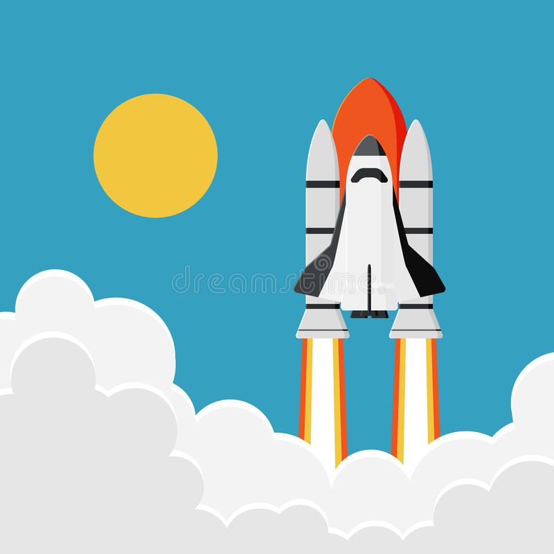 Space Shuttle Launch into the Sky : New Business Project Start, stock illustration