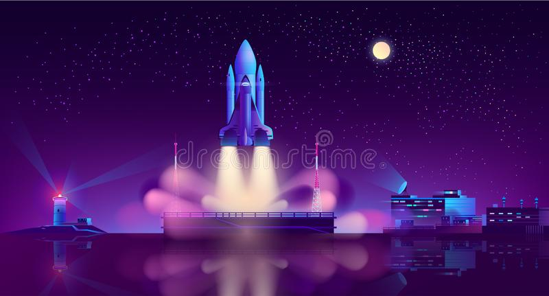 Spaceship launch from floating platform vector stock illustration