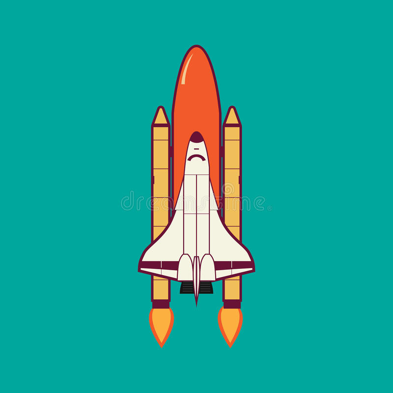 Space Shuttle Launch With Vintage. vector illustration