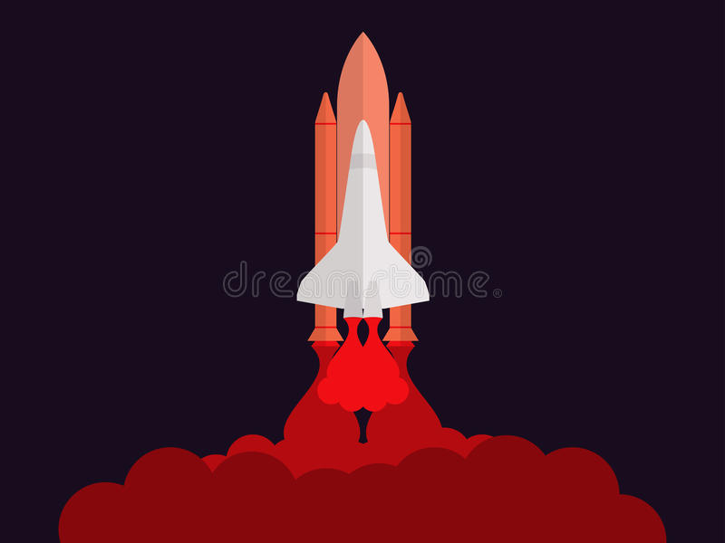 Space shuttle. Launching the satellite. Take-off space ship. Vector royalty free illustration
