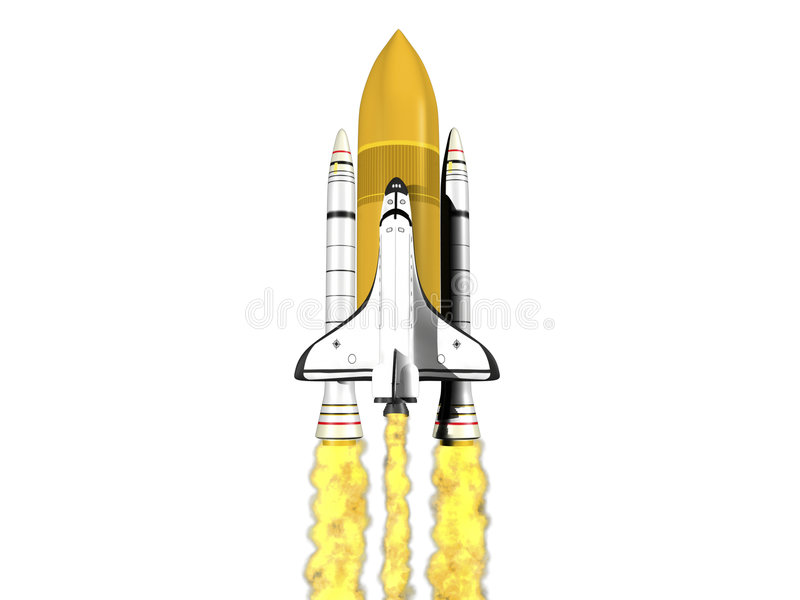 Space shuttle launching on white background vector illustration