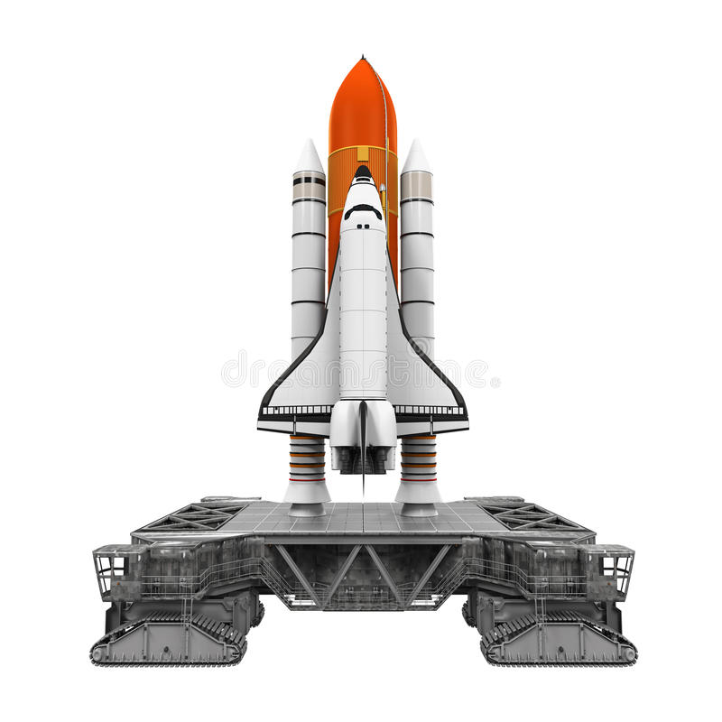 Space Shuttle and Mobile Launcher Platform. Isolated on white background. 3D render vector illustration