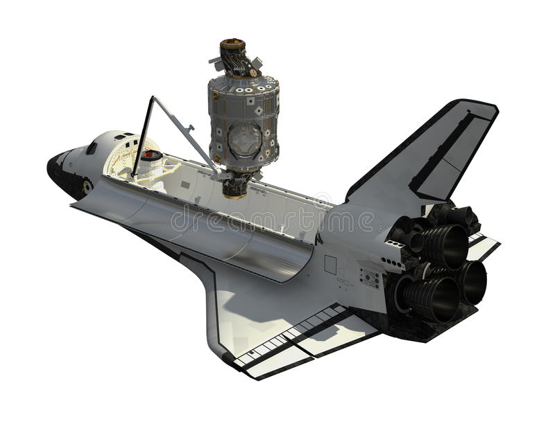 Space Shuttle And Module Of International Space Station. 3D Illustration stock illustration