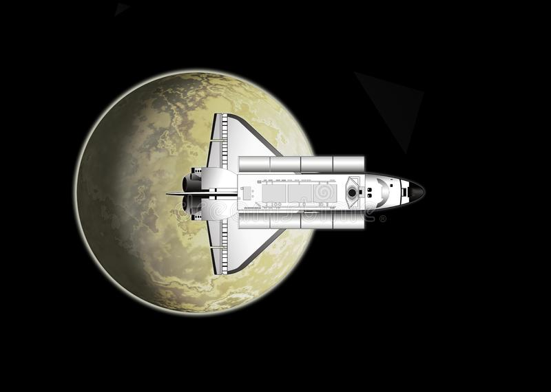 Space shuttle and moon royalty free stock image