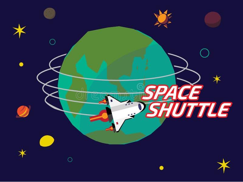 Space shuttle orbit around the earth vector illustration