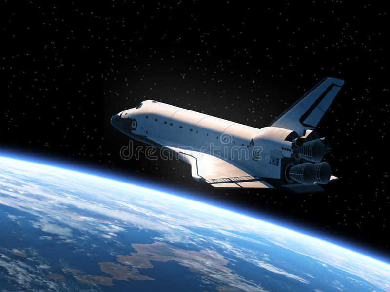 Space Shuttle Orbiting Earth stock illustration